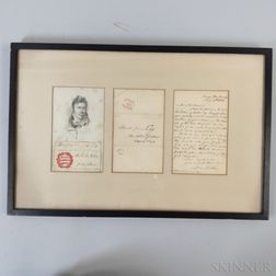 Sir David Wilkie Framed Letter, Portrait Engraving, and Signature