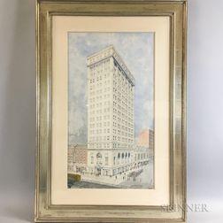 George Frederick Pelham (American, 1867-1937)      Architectural Watercolor Rendering