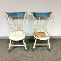 Pair of Painted Thumb-back Windsor Side Chairs