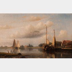 Hendrick Hulk (Dutch, 1842-1937)      Dutch Canal Scene
