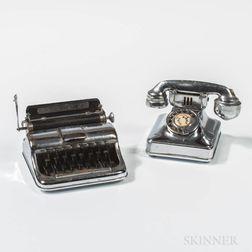 Chromed Vintage Peacock Rotary Telephone Lighter and Chromed Typewriter Lighter