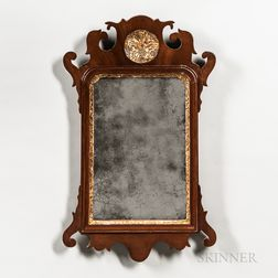 Small Chippendale Walnut Veneer and Parcel-gilt Mirror