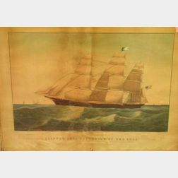 """Framed Lithograph on Paper of Clipper Ship """"Sovereign of the Seas"""""""