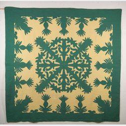 Hawaiian Pineapple Appliqued Cotton Quilt