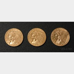 Three United States Indian Head/Quarter Eagle Two and One Half Dollar Gold Coins