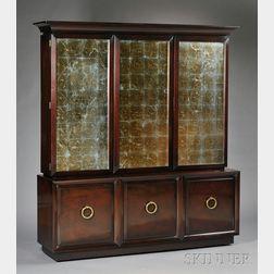 T.H. Robsjohn Gibbings Reverse Foil-mounted Glass and Mahogany Three-door Cabinet