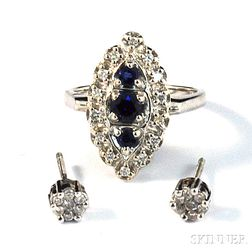 Pair of Diamond Earstuds and a 14kt White Gold, Sapphire, and Diamond Ring