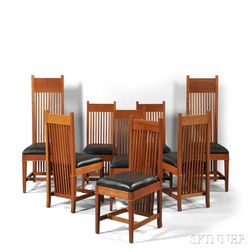 Eight Frank Lloyd Wright Robie House Dining Chairs by Copeland