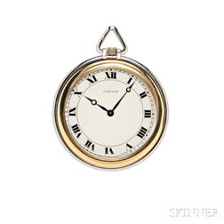 Art Deco Platinum and 18kt Gold Open-face Pocket Watch, Cartier