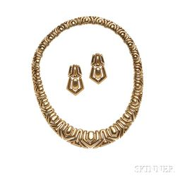 18kt Gold Necklace and Earclips, Boucheron