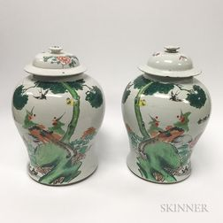 Pair of Tall Covered Jars