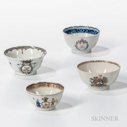Four Armorial Export Porcelain Bowls