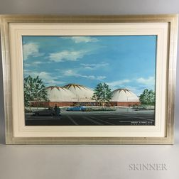 Framed Architectural Gouache Rendering of Triple Dome Theater in San Juan