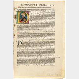 Augustine of Hippo, Saint (354-430 AD) Epistolae. Liber Epistolarum Beati Augustini Episcopi Hipponensis Ecclesie.