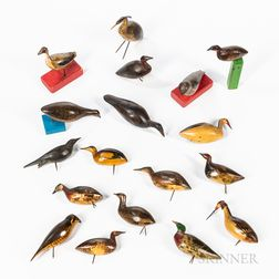 Eighteen Carved and Painted Miniature Bird Figures