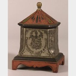 Painted and Engraved Masonic Cast Iron, Brass, and Lead Tobacco Jar