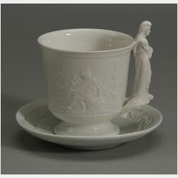 Union Porcelain Works White Glazed Liberty Cup & Saucer