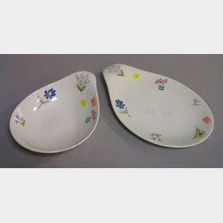 Eva Zeisel Hallcraft Floral Decorated Porcelain Serving Bowl and Platter.