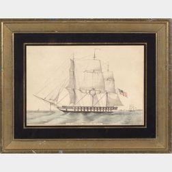 Nathaniel Currier, publisher (American, 1813-1888)    U.S. Frigate Savannah, 60 Guns.