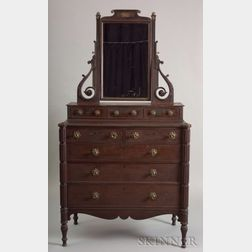 Neoclassical Carved Mahogany and Mahogany Veneer Dressing Chest with Mirror
