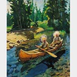 Tim Solliday (American, b. 1952)      Two Native Americans in a Canoe