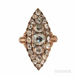 Gold and Rose-cut Diamond Ring