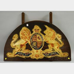 Gilt and Painted Pressed Tin British Monarchy Coat of Arms