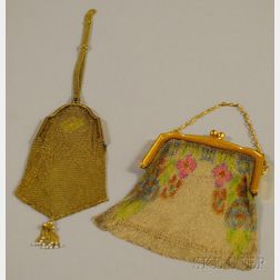 Two Antique Fine Mesh Purses Including a Whiting and Davis and 14kt Gold
