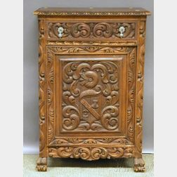 Baroque-style Carved Walnut Liquor Cabinet
