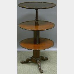 Gill & Reigate Georgian-style Carved Mahogany Piecrust-edge Three-tier Metamorphic   Dumbwaiter/Tea Table