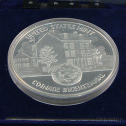U.S. Mint Bicentennial One Troy Pound Commemorative Coin.     Estimate $150-200