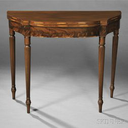 Federal Carved and Inlaid Mahogany Card Table