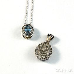 Two White Gold and Gemstone Pendants