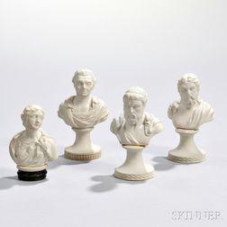 Four Wedgwood White Jasper Busts