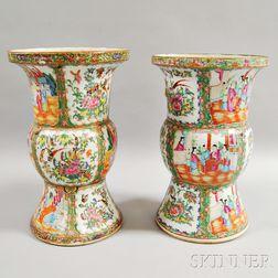 Near Pair of Rose Medallion Vases