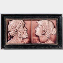 Two Trent Tile Co. Framed Art Pottery Portrait Tiles