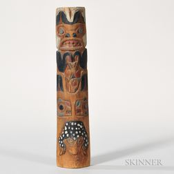 Tsimshian Carved Wood Model Totem Pole