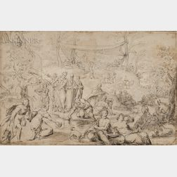 European School, 16th/17th Century      Moses Striking Water from a Rock