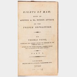 Paine, Thomas (1737-1809) Rights of Man, Part I [and II]; Common Sense; Letters Addressed to the Addressers of the Late Proclamation;