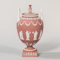 Modern Wedgwood Terra-cotta Jasper Vase and Cover