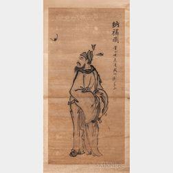Hanging Scroll Depicting Zhong Kui with a Bat