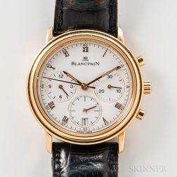 "Blancpain 18kt Gold ""Villeret"" Chronograph Wristwatch"