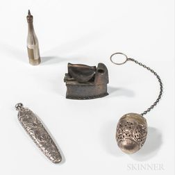 Three Silver Accessories and a Sad Iron-form Pencil Sharpener