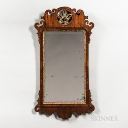 Chippendale Walnut Veneer Parcel-gilt Mirror
