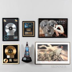 Korn Signed Print and Five RIAA Certified Gold and Platinum Record Sales Awards