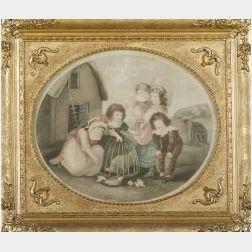 Francesco Bartolozzi, engraver (British, 1727-1815)  Children Feeding Chickens