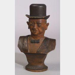 Folk Art Carved Wooden Bust of Winston Churchill