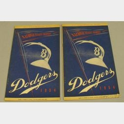 Two 1954 National League Brooklyn Dodgers vs. Pittsburgh Pirates Baseball Programs