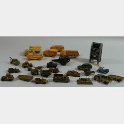 Group of Plastic, Lead, and Wood Toys and Vehicles