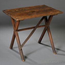 Small Maple and Oak Sawbuck Table